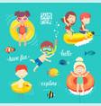 summer kids set swimming diving playing and vector image vector image