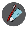 Tube of toothpaste and tooth brush round icon vector image vector image
