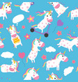 unicorns seamless pattern various fairytale vector image