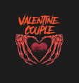 valentine couple skeleton bone vector image vector image