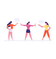 young women yelling on each other girl stand vector image vector image
