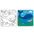 Little whale coloring book vector image