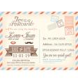 Vintage airmail postcard wedding background vector image