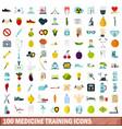 100 medicine training icons set flat style vector image vector image