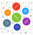 7 diagnostic icons vector image vector image
