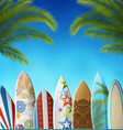 background with palms and surfboards