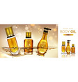 body oil cosmetics product bottles mockup banner vector image