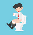 businessman sitting on white toilet vector image vector image