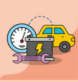 car service maintenance battery wrench speedometer vector image