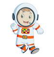 cartoon boy wearing astronaut costume vector image vector image