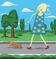 cartoon girl walking a dog in park tolking on the vector image