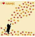 Cat and falling autumn leaves Maple leaf vector image vector image