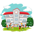 Children playing in front of school vector image vector image