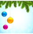 Christmas background with fir tree branches and vector image