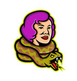 circus freak snake lady mascot vector image vector image
