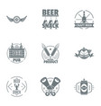 craft beer logo set simple style vector image vector image