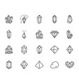 crystals flat line icons set mineral rock vector image