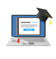 education online concept notebook with graduation vector image