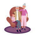 elderly couple with child vector image vector image