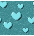 Elegant seamless with blue cartoon hearts vector image