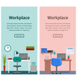 flat interior workspace or home workplace vector image vector image