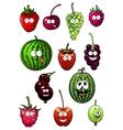Fresh cartoon berries and fruits vector image