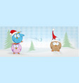 funny owl cartoon on christmas banner christmas vector image vector image