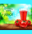 glass of tomato juice vector image vector image