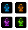 glowing neon microphone icon isolated on white vector image vector image
