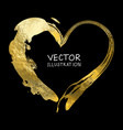 gold heart isolated on black background hand vector image vector image