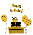 golden happy birthday greeting card template vector image