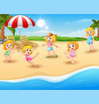 happy kids playing on the beach vector image vector image