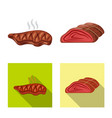 isolated object of meat and ham logo set of meat vector image