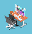 isometric businessman talking to his colleagues vector image vector image