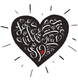 Lettering heart vector image vector image