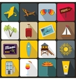 Miami icons set flat style vector image vector image