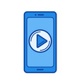 mobile video app line icon vector image