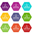 monarch crown icons set 9 vector image