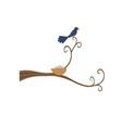 Mother bird perched on a tree branch vector image vector image