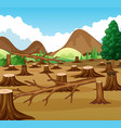 mountain scene with deforestation view vector image vector image