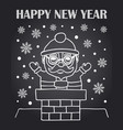 new year chalkboard card with santa claus vector image