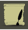 old paper and feather vector image vector image