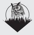 owl on forest silhouette background vector image vector image