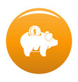 pig money icon orange vector image