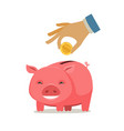piggy bank and hand with coin save money banking vector image