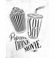 poster soda popcorn vector image vector image