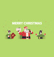 santa claus with elves in masks holding gifts vector image vector image