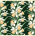 seamless pattern sketches spring daffodils vector image vector image