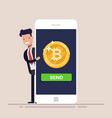 sending bitcoin from your mobile phone concept of vector image vector image