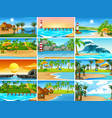 set beach scenes vector image vector image